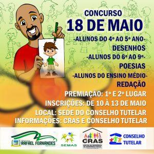 CRAS realiza Concurso 18 de Maio, dentro da programação da Semana de Combate ao Abuso e à Exploração Sexual de Crianças e Adolescentes