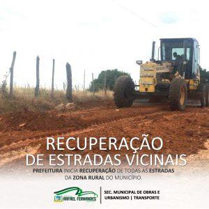 Prefeitura de Rafael Fernandes inicia, recuperação das estradas vicinais do município