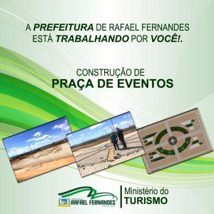 CONSTRUÇÃO DE PRAÇA DE EVENTOS DE RAFAEL FERNANDES, SEGUE EM RITMO ACELERADO