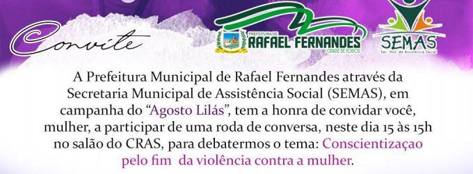 "SEMAS, realizará roda de conversa sobre a campanha ""Agosto Lilás"""