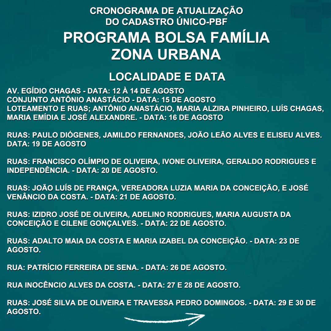Divulgado o Cronograma de Atualização do Cadastro Único-PBF ( Programa Bolsa Família).