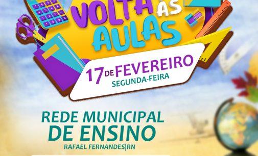Secretaria de Educação divulga data para início do ano letivo na rede municipal de ensino de Rafael Fernandes