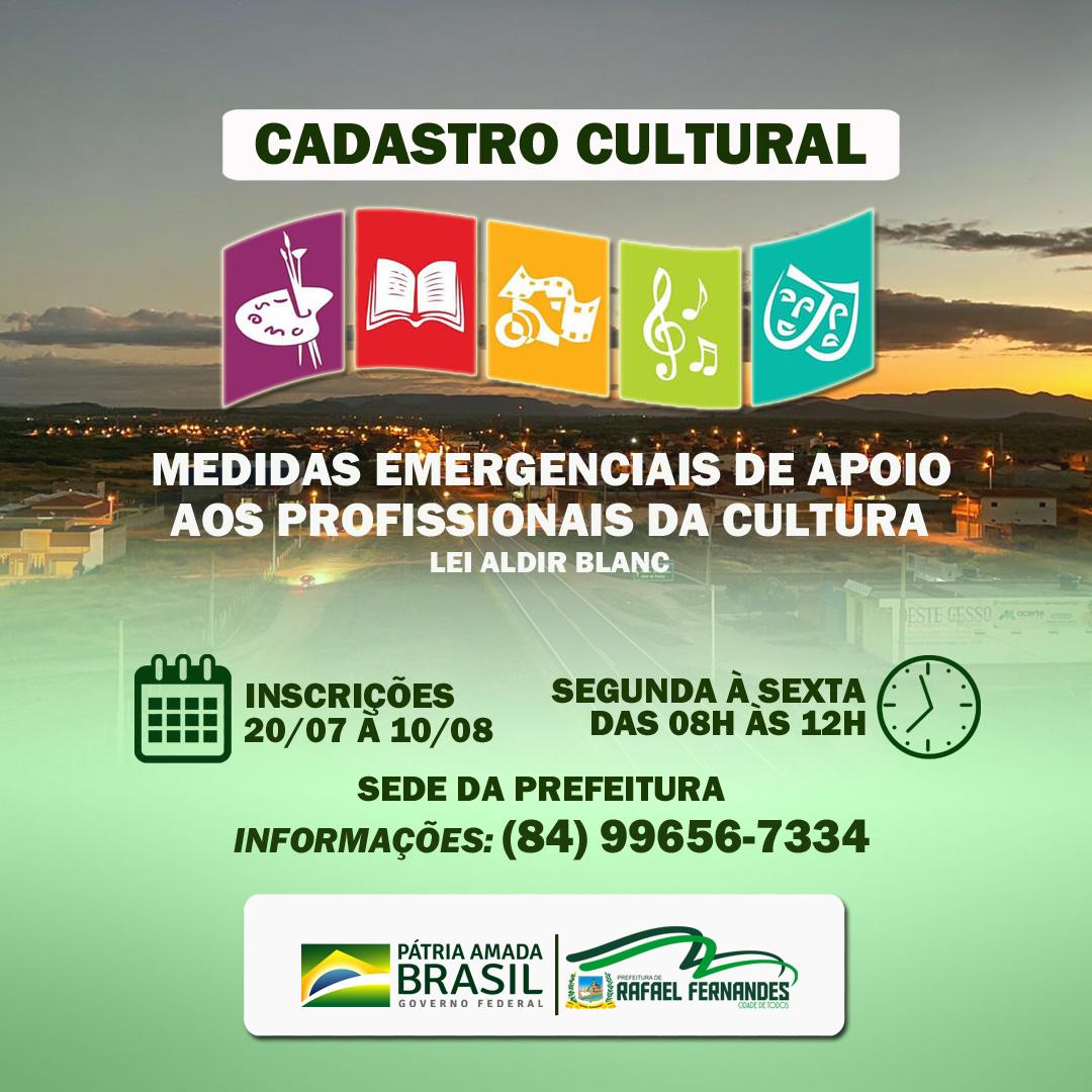 Prefeitura inicia Cadastro Cultural, inscrições seguem até 10/08