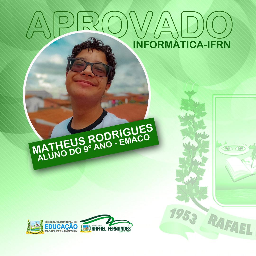 Aluno da Escola Municipal Antônio Carvalho de Oliveira é aprovado em curso de Informática do IFRN