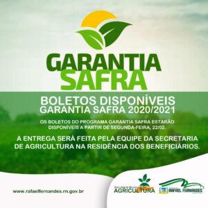 Sec. de Agricultura avisa que os boletos do Garantia Safra 2020/2021, já estão disponíveis