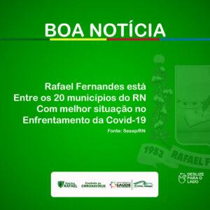 Rafael Fernandes está entre os 20 municípios do RN, com melhor situação no enfrentamento a Covid-19