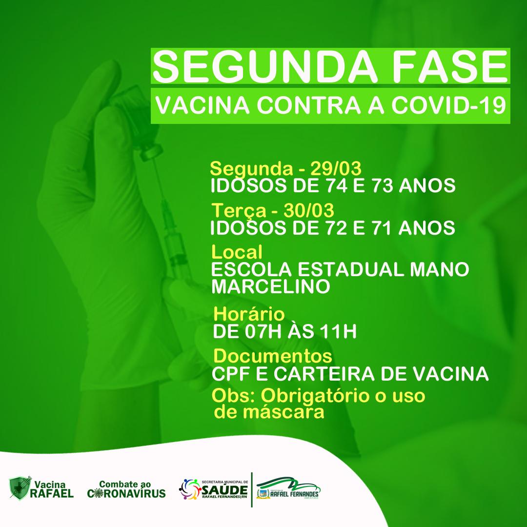 Segunda Fase de vacinação contra a Covid-19, terá início nesta segunda (29)