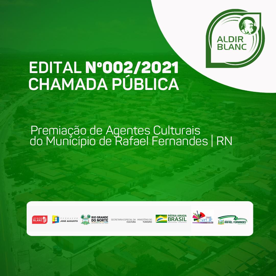 Prefeitura lança edital de chamada pública para premiação de agentes culturais do município de Rafael Fernandes