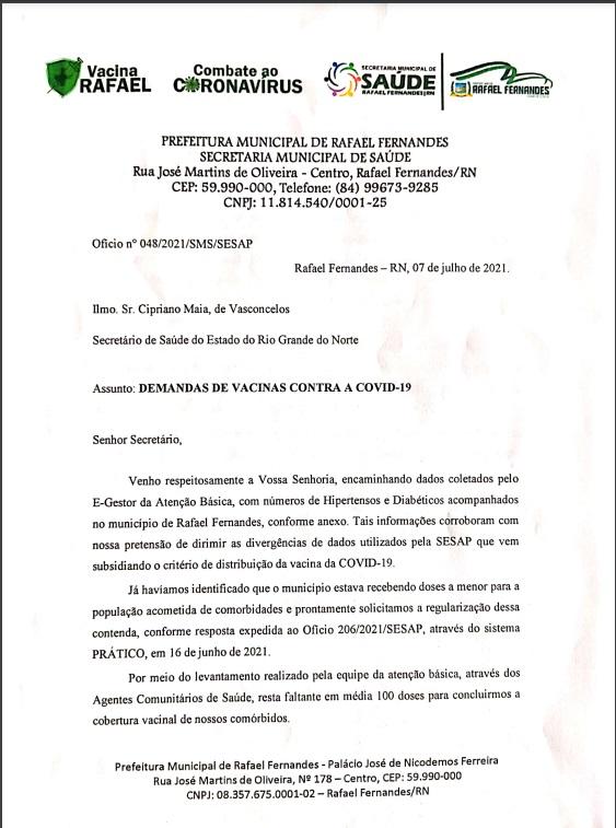 Prefeitura de Rafael Fernandes solicitou mais doses da vacina ao Governo do Estado.
