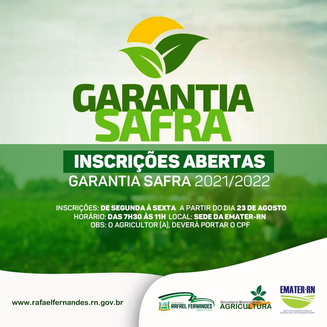 Inscrições para o Garantia Safra estarão abertas a partir do dia 23